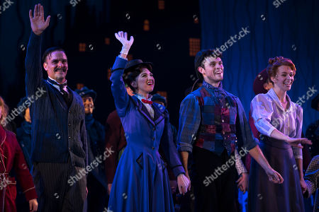 Joseph Millson (George Banks), Zizi Vaigncourt-Strallen (Mary Poppins), Charlie Stemp (Bert) and Amy Griffiths (Winifred Banks) during the curtain call