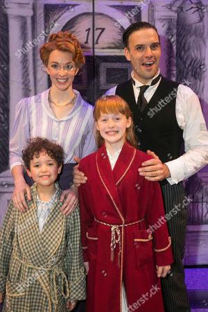 Gabriel Payne (Michael Banks), Amy Griffiths (Winifred Banks), Adelaide Barham (Jane Banks) and Joseph Millson (George Banks) backstage