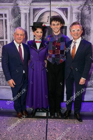 Stock Photo of Cameron Mackintosh (Producer/Co-Creator), Zizi Vaigncourt-Strallen (Mary Poppins), Charlie Stemp (Bert) and Thomas Schumacher (Producer) backstage