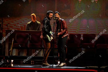 "Brad Tursi, Matthew Ramsey. Brad Tursi, left, and Matthew Ramsey of Old Dominion perform ""One Man Band"" at the 53rd annual CMA Awards at Bridgestone Arena, in Nashville, Tenn"