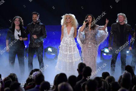 "Ashley McBryde, Jimi Westbrook, Kimberly Schlapman, Karen Fairchild, Phillip Sweet. Ashley McBryde, from left, Jimi Westbrook, Kimberly Schlapman, Karen Fairchild, and Phillip Sweet of Little Big Town perform ""Girl Cfrush"" at the 53rd annual CMA Awards at Bridgestone Arena, in Nashville, Tenn"