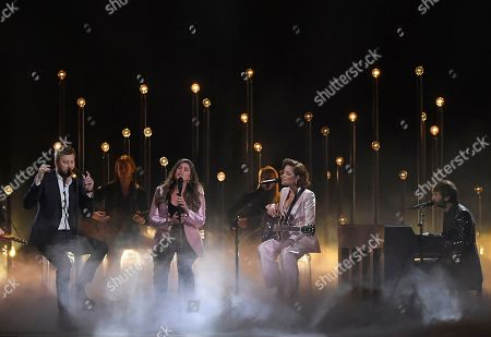 "Charles Kelley, Hillary Scott, Halsey, Dave Haywood. Charles Kelley, left, Hillary Scott, second left and Dave Haywood, right, of Lady Antebellum perform ""What if I Never Get Over You"" and ""Graveyard"" with Halsey, second from right at the 53rd annual CMA Awards at Bridgestone Arena, in Nashville, Tenn"