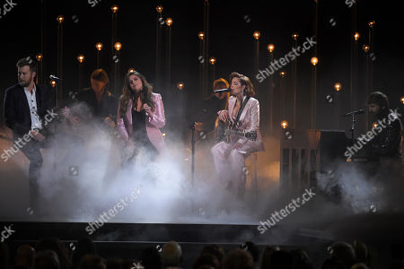 "Stock Photo of Charles Kelley, Hillary Scott, Halsey, Dave Haywood. Charles Kelley, left, Hillary Scott, second left and Dave Haywood, right, of Lady Antebellum perform ""What if I Never Get Over You"" and ""Graveyard"" with Halsey, second from right at the 53rd annual CMA Awards at Bridgestone Arena, in Nashville, Tenn"