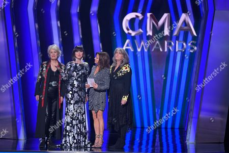 Janie Fricke, Pam Tillis, Martina McBride, Kathy Mattea. Janie Fricke, from left, Pam Tillis, Martina McBride, and Kathy Mattea present the award for female vocalist of the year at the 53rd annual CMA Awards at Bridgestone Arena, in Nashville, Tenn