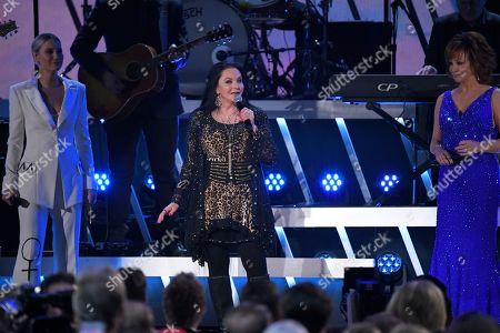 Amanda Shires, Maren Morris, Tanya Tucker, Brandi Carlile, Natalie Hemby. Amanda Shires, from left, Maren Morris, Tanya Tucker, Brandi Carlile, and Natalie Hemby perform at the 53rd annual CMA Awards at Bridgestone Arena, in Nashville, Tenn