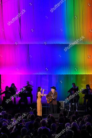 """Kacey Musgraves, Willie Nelson. Kacey Musgraves, left, and Willie Nelson perform """"The Rainbow Connection"""" at the 53rd annual CMA Awards at Bridgestone Arena, in Nashville, Tenn"""