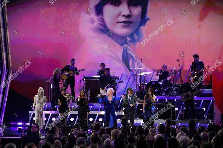 Dolly Parton, Amanda Shires, Maren Morris, Tanya Tucker, Brandi Carlile, Natalie Hemby. Dolly Parton, from left, Amanda Shires, Maren Morris, Tanya Tucker, Brandi Carlile, and Natalie Hemby perform during the 53rd annual CMA Awards at Bridgestone Arena, in Nashville, Tenn