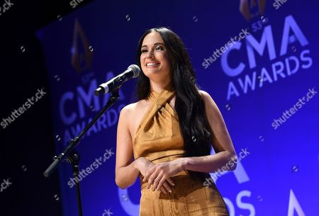 Stock Picture of Kasey Musgraves speaks in the press room after winning awards for female vocalist of the year and music video of the year at the 53rd annual CMA Awards at Bridgestone Arena, in Nashville, Tenn