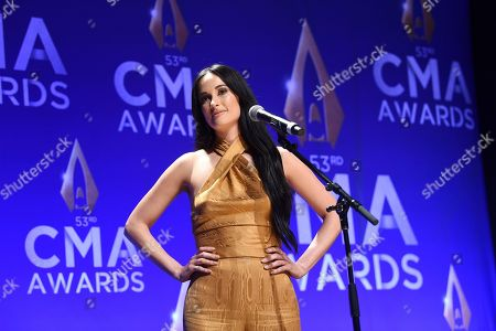 Kasey Musgraves speaks in the press room after winning awards for female vocalist of the year and music video of the year at the 53rd annual CMA Awards at Bridgestone Arena, in Nashville, Tenn