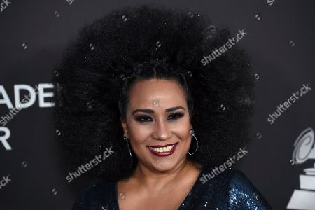 Aymee Nuviola arrives at the Latin Recording Academy Person of the Year gala honoring Juanes at the MGM Conference Center, in Las Vegas