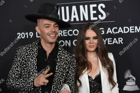 Jesse Huerta, Joy Huerta, Jesse & Joy. Jesse Huerta, left, and Joy Huerta, of Jesse & Joy, arrive at the Latin Recording Academy Person of the Year gala honoring Juanes at the MGM Conference Center, in Las Vegas
