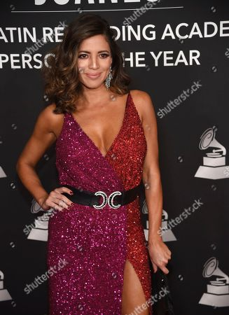 Pamela Silva Conde arrives at the Latin Recording Academy Person of the Year gala honoring Juanes at the MGM Conference Center, in Las Vegas