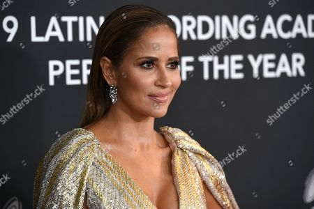Jackie Guerrido arrives at the Latin Recording Academy Person of the Year gala honoring Juanes at the MGM Conference Center, in Las Vegas