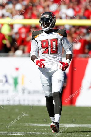 Tampa Bay Buccaneers defensive end Jason Pierre-Paul (90) lines up against the Arizona Cardinals during an NFL football game, in Tampa, Fla. The Buccaneers won the game 30-27