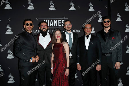 Stock Picture of Tomas Pinzon, Pablo Munoz Barragan, Diana Osorio, Olivier Lestriez, Javier Ojeda and Francisco Marti of Burning Caravan arrive for the 2019 Latin Recording Academy Person of the Year gala at the MGM Grand Conference Center in Las Vegas, Nevada, USA, 13 November 2019. The event precedes the 20th annual Latin Grammy Awards that recognize artistic and/or technical achievement, not sales figures or chart positions, and the winners are determined by the votes of their peers - the qualified voting members of the Latin Recording Academy.