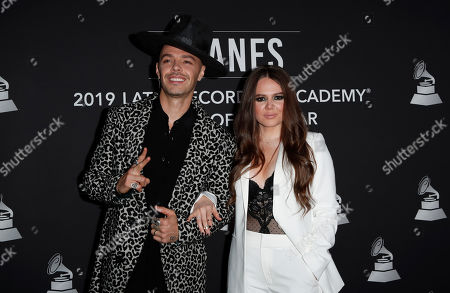 Jesse Huerta (L) and Joy Huerta (R) of the Mexican pop duo Jesse & Joy arrive for the 2019 Latin Recording Academy Person of the Year gala at the MGM Grand Conference Center in Las Vegas, Nevada, USA, 13 November 2019. The event precedes the 20th annual Latin Grammy Awards that recognize artistic and/or technical achievement, not sales figures or chart positions, and the winners are determined by the votes of their peers - the qualified voting members of the Latin Recording Academy.