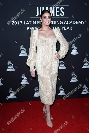 Puerto Rican singer Dayanara Torres arrives for the 2019 Latin Recording Academy Person of the Year gala at the MGM Grand Conference Center in Las Vegas, Nevada, USA, 13 November 2019. The event precedes the 20th annual Latin Grammy Awards that recognize artistic and/or technical achievement, not sales figures or chart positions, and the winners are determined by the votes of their peers - the qualified voting members of the Latin Recording Academy.