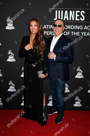 Thalia (L) and US music executive Tommy Mottola (R) arrive for the 2019 Latin Recording Academy Person of the Year gala at the MGM Grand Conference Center in Las Vegas, Nevada, USA, 13 November 2019. The event precedes the 20th annual Latin Grammy Awards that recognize artistic and/or technical achievement, not sales figures or chart positions, and the winners are determined by the votes of their peers - the qualified voting members of the Latin Recording Academy.