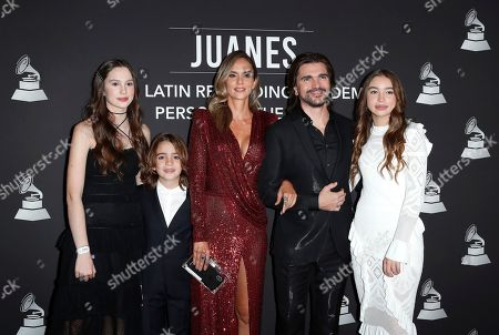 Paloma Aristizabal, Dante Aristizabal, Karen Martinez, honoree Colombian musician Juanes, and Luna Aristizabal arrive for the 2019 Latin Recording Academy Person of the Year gala at the MGM Grand Conference Center in Las Vegas, Nevada, USA, 13 November 2019. The event precedes the 20th annual Latin Grammy Awards that recognize artistic and/or technical achievement, not sales figures or chart positions, and the winners are determined by the votes of their peers - the qualified voting members of the Latin Recording Academy.