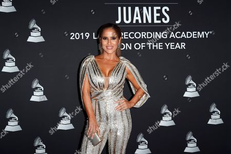 Puerto Rican television personality Jackie Guerrido arrives for the 2019 Latin Recording Academy Person of the Year gala at the MGM Grand Conference Center in Las Vegas, Nevada, USA, 13 November 2019. The event precedes the 20th annual Latin Grammy Awards that recognize artistic and/or technical achievement, not sales figures or chart positions, and the winners are determined by the votes of their peers - the qualified voting members of the Latin Recording Academy.