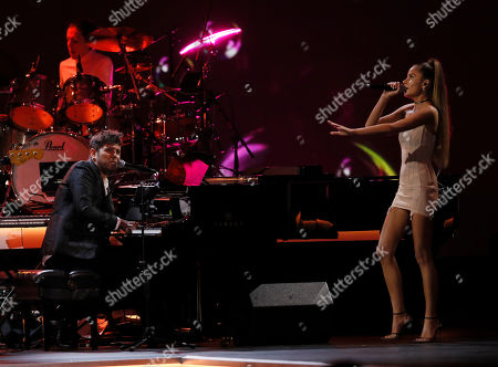 Pablo Lopez (L) and Chilean singer Cami (R) perform during the 2019 Latin Recording Academy Person of the Year gala at the MGM Grand Conference Center in Las Vegas, Nevada, USA, 13 November 2019. The event precedes the 20th annual Latin Grammy Awards that recognize artistic and/or technical achievement, not sales figures or chart positions, and the winners are determined by the votes of their peers - the qualified voting members of the Latin Recording Academy.
