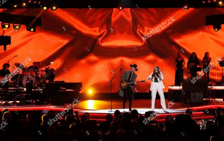 Jesse Huerta (C) and Joy Huerta (R) of the Mexican pop duo Jesse y Joy perform during the 2019 Latin Recording Academy Person of the Year gala at the MGM Grand Conference Center in Las Vegas, Nevada, USA, 13 November 2019. The event precedes the 20th annual Latin Grammy Awards that recognize artistic and/or technical achievement, not sales figures or chart positions, and the winners are determined by the votes of their peers - the qualified voting members of the Latin Recording Academy.