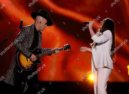 Jesse Huerta (L) and Joy Huerta (R) of the Mexican pop duo Jesse y Joy perform during the 2019 Latin Recording Academy Person of the Year gala at the MGM Grand Conference Center in Las Vegas, Nevada, USA, 13 November 2019. The event precedes the 20th annual Latin Grammy Awards that recognize artistic and/or technical achievement, not sales figures or chart positions, and the winners are determined by the votes of their peers - the qualified voting members of the Latin Recording Academy.