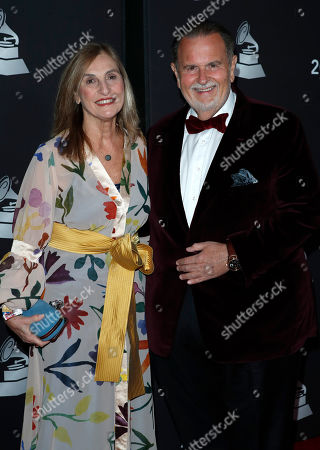 Cuban television host Raul de Molina (R) and his wife Millie (L) arrive for the 2019 Latin Recording Academy Person of the Year gala at the MGM Grand Conference Center in Las Vegas, Nevada, USA, 13 November 2019. The event precedes the 20th annual Latin Grammy Awards that recognize artistic and/or technical achievement, not sales figures or chart positions, and the winners are determined by the votes of their peers - the qualified voting members of the Latin Recording Academy.