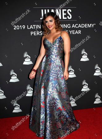 Clarissa Molina arrives for the 2019 Latin Recording Academy Person of the Year gala at the MGM Grand Conference Center in Las Vegas, Nevada, USA, 13 November 2019. The event precedes the 20th annual Latin Grammy Awards that recognize artistic and/or technical achievement, not sales figures or chart positions, and the winners are determined by the votes of their peers - the qualified voting members of the Latin Recording Academy.