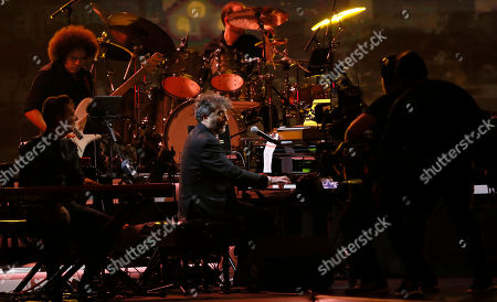 Argentine pianist/singer Fito Paez (C) performs during the 2019 Latin Recording Academy Person of the Year gala at the MGM Grand Conference Center in Las Vegas, Nevada, USA, 13 November 2019. The event precedes the 20th annual Latin Grammy Awards that recognize artistic and/or technical achievement, not sales figures or chart positions, and the winners are determined by the votes of their peers - the qualified voting members of the Latin Recording Academy.