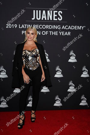 Argentine singer Lali Esposito arrives for the 2019 Latin Recording Academy Person of the Year gala at the MGM Grand Conference Center in Las Vegas, Nevada, USA, 13 November 2019. The event precedes the 20th annual Latin Grammy Awards that recognize artistic and/or technical achievement, not sales figures or chart positions, and the winners are determined by the votes of their peers - the qualified voting members of the Latin Recording Academy.