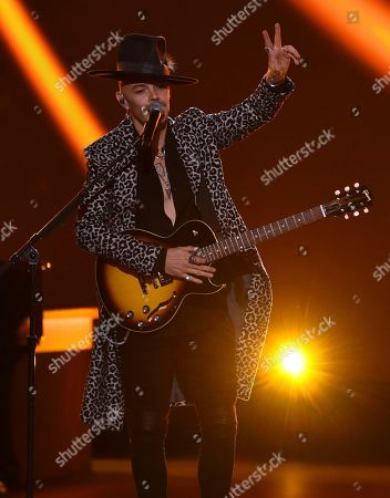 """Stock Image of Jesse Huerta, Jesse & Joy. Jesse Huerta, of Jesse & Joy, performs """"Me Enamora"""" at the Latin Recording Academy Person of the Year gala honoring Juanes at the MGM Conference Center, in Las Vegas"""