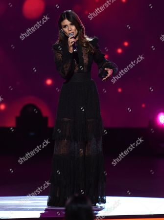 """Paula Fernandes performs """"Para Tu Amor"""" at the Latin Recording Academy Person of the Year gala honoring Juanes at the MGM Conference Center, in Las Vegas"""