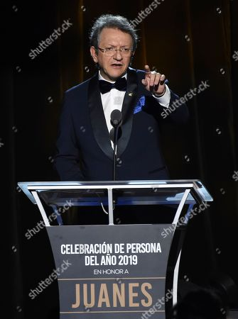 Gabriel Abaroa, president and CEO of the Latin Recording Academy, speaks at the Latin Recording Academy Person of the Year gala honoring Juanes at the MGM Conference Center, in Las Vegas