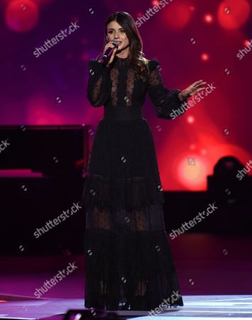 """Stock Image of Paula Fernandes performs """"Para Tu Amor"""" at the Latin Recording Academy Person of the Year gala honoring Juanes at the MGM Conference Center, in Las Vegas"""