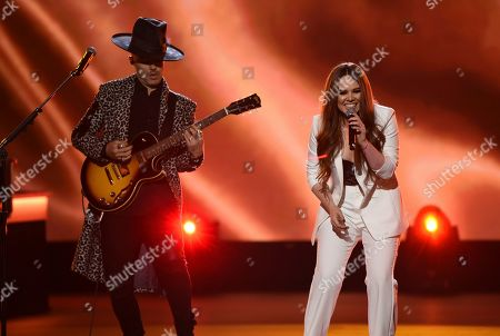 """Stock Picture of Jesse Huerta, Joy Huerta, Jesse & Joy. Jesse Huerta, left, and Joy Huerta, of Jesse & Joy, perform """"Me Enamora"""" at the Latin Recording Academy Person of the Year gala honoring Juanes at the MGM Conference Center, in Las Vegas"""