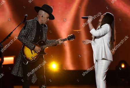 """Stock Image of Jesse Huerta, Joy Huerta, Jesse & Joy. Jesse Huerta, left, and Joy Huerta, of Jesse & Joy, perform """"Me Enamora"""" at the Latin Recording Academy Person of the Year gala honoring Juanes at the MGM Conference Center, in Las Vegas"""