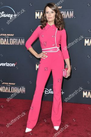 """Emily Swallow attends the LA premiere of """"The Mandalorian"""" at the El Capitan Theatre, in Los Angeles"""
