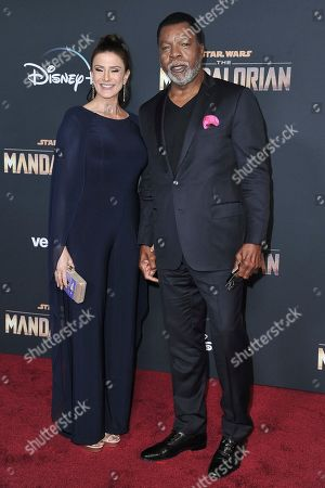 "Christine Kludjian, Carl Weathers. Carl Weathers, right, and Christine Kludjian attend the LA premiere of ""The Mandalorian"" at the El Capitan Theatre, in Los Angeles"