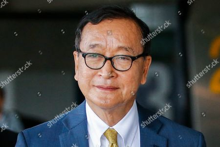 Self-exiled former Cambodian opposition leader Sam Rainsy arrives at Soekarno-Hatta airport in Jakarta, Indonesia, 14 November 2019. Rainsy is in Jakarta to meet with Indonesian parliament members. Sam Rainsy, former leader of Cambodia's largest opposition party, the Cambodia National Rescue Party, chose self-imposed exile for a second time in 2016, in order to avoid a series of convictions he says are politically motivated.