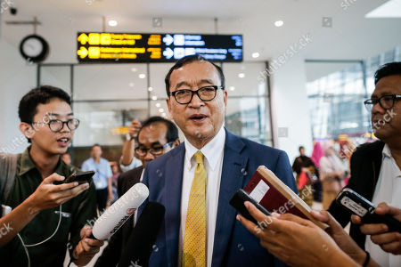 Self-exiled former Cambodian opposition leader Sam Rainsy talks to journalists upon arriving at Soekarno-Hatta airport in Jakarta, Indonesia, 14 November 2019. Rainsy is in Jakarta to meet with Indonesian parliament members. Sam Rainsy, former leader of Cambodia's largest opposition party, the Cambodia National Rescue Party, chose self-imposed exile for a second time in 2016, in order to avoid a series of convictions he says are politically motivated.