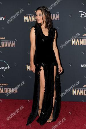 Julia Jones arrives at the premiere of the Disney Plus web television series 'The Mandalorian' at El Capitan Theatre in Los Angeles, California, USA, 13 November 2019.