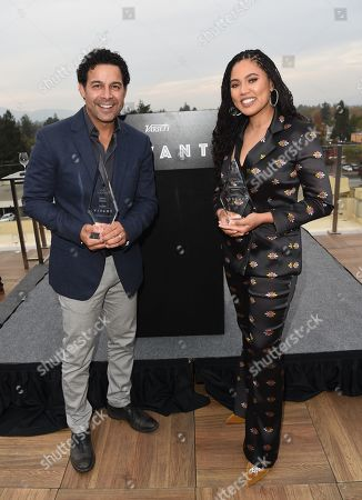 Stock Image of Ayesha Curry poses with her 'Taste Maker Award' along side Jon Huertas and his 'Spice Award' attends Variety's Vivant launch during the Napa Valley Film Festival, held at Archer Hotel, Napa Valley, CA @NapaFilmFest #NVFF19