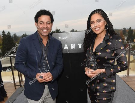 Stock Picture of Ayesha Curry poses with her 'Taste Maker Award' along side Jon Huertas and his 'Spice Award' attends Variety's Vivant launch during the Napa Valley Film Festival, held at Archer Hotel, Napa Valley, CA @NapaFilmFest #NVFF19