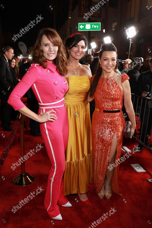 """Emily Swallow, Gina Carano, Ming-Na Wen. Emily Swallow, from left, Gina Carano, Ming-Na Wen attend the LA Premiere of """"The Mandalorian"""" at the El Capitan Theatre, in Los Angeles"""