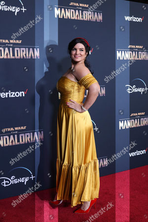 "Gina Carano attends the LA Premiere of ""The Mandalorian"" at the El Capitan theatre on in Los Angeles"