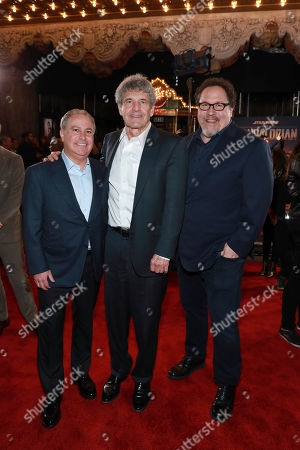 "Stock Photo of Alan Bergman, Alan F. Horn, Jon Favreau. Alan Bergman, from left Alan F. Horn, and Jon Favreau attends the LA Premiere of ""The Mandalorian"" at the El Capitan theatre on in Los Angeles"