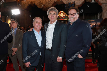 "Stock Image of Alan Bergman, Alan F. Horn, Jon Favreau. Alan Bergman, from left Alan F. Horn, and Jon Favreau attends the LA Premiere of ""The Mandalorian"" at the El Capitan theatre on in Los Angeles"