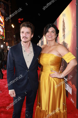 "Pedro Pascal, Gina Carano. Pedro Pascal and Gina Carano attend the LA Premiere of ""The Mandalorian"" at the El Capitan theatre on in Los Angeles"