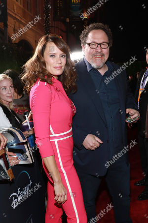 "Stock Image of Emily Swallow, Jon Favreau. Emily Swallow and Jon Favreau attend the LA Premiere of ""The Mandalorian"" at the El Capitan theatre on in Los Angeles"